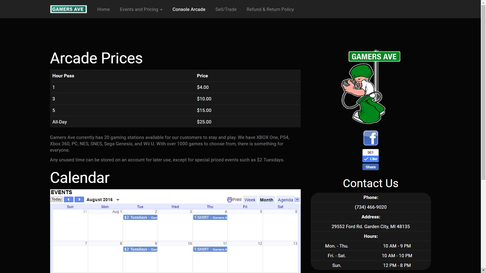 Arcade Information Page