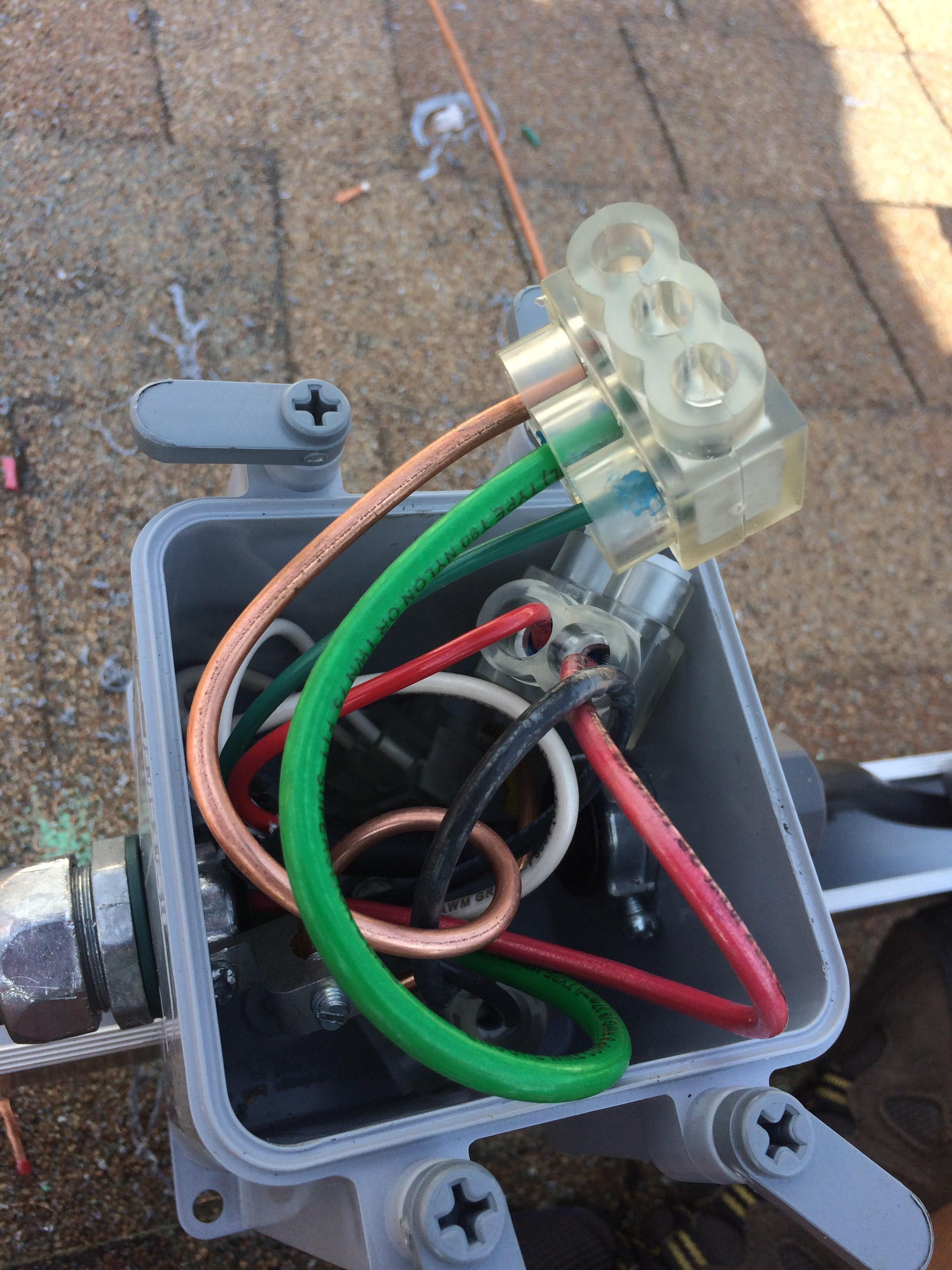 ground wires connected by a multiport
