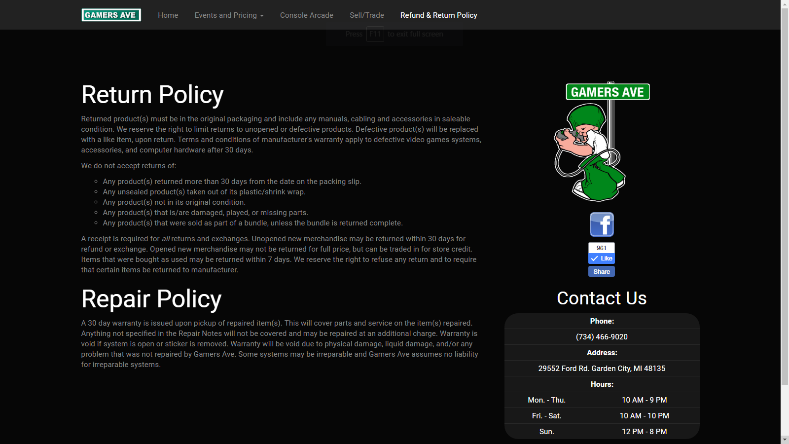 Policy Page