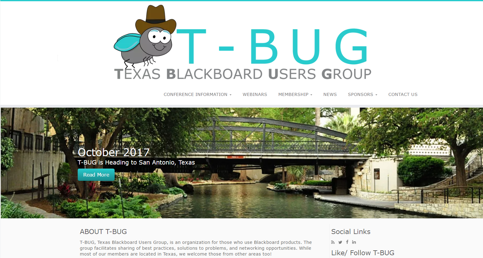 Landing page of the T-BUG Website