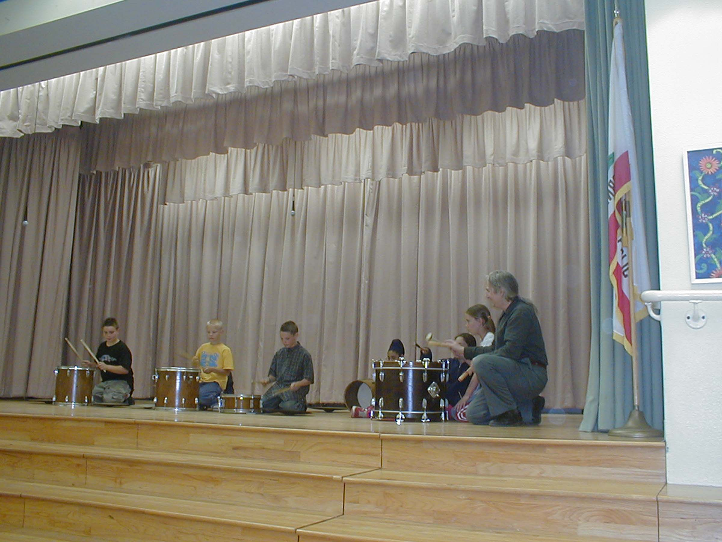 2005 Spring session Murdock Elementary School's After-School Drum Club, end of session assembly performance.