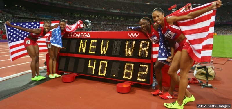 U.S.A.'s women track team wins gold.