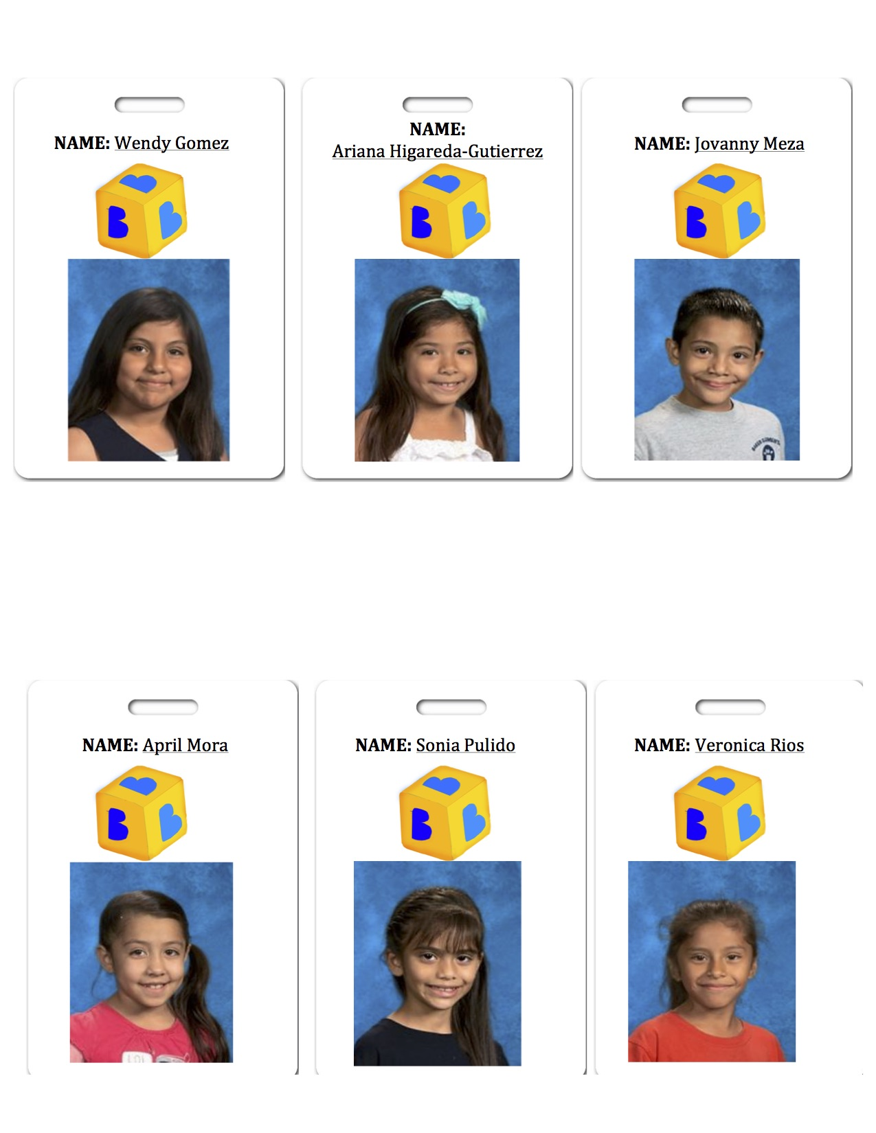 Our Elementary Engineering team's namecards