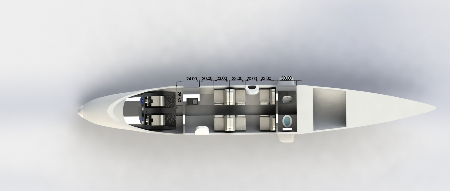 6 Passenger Top View Interior