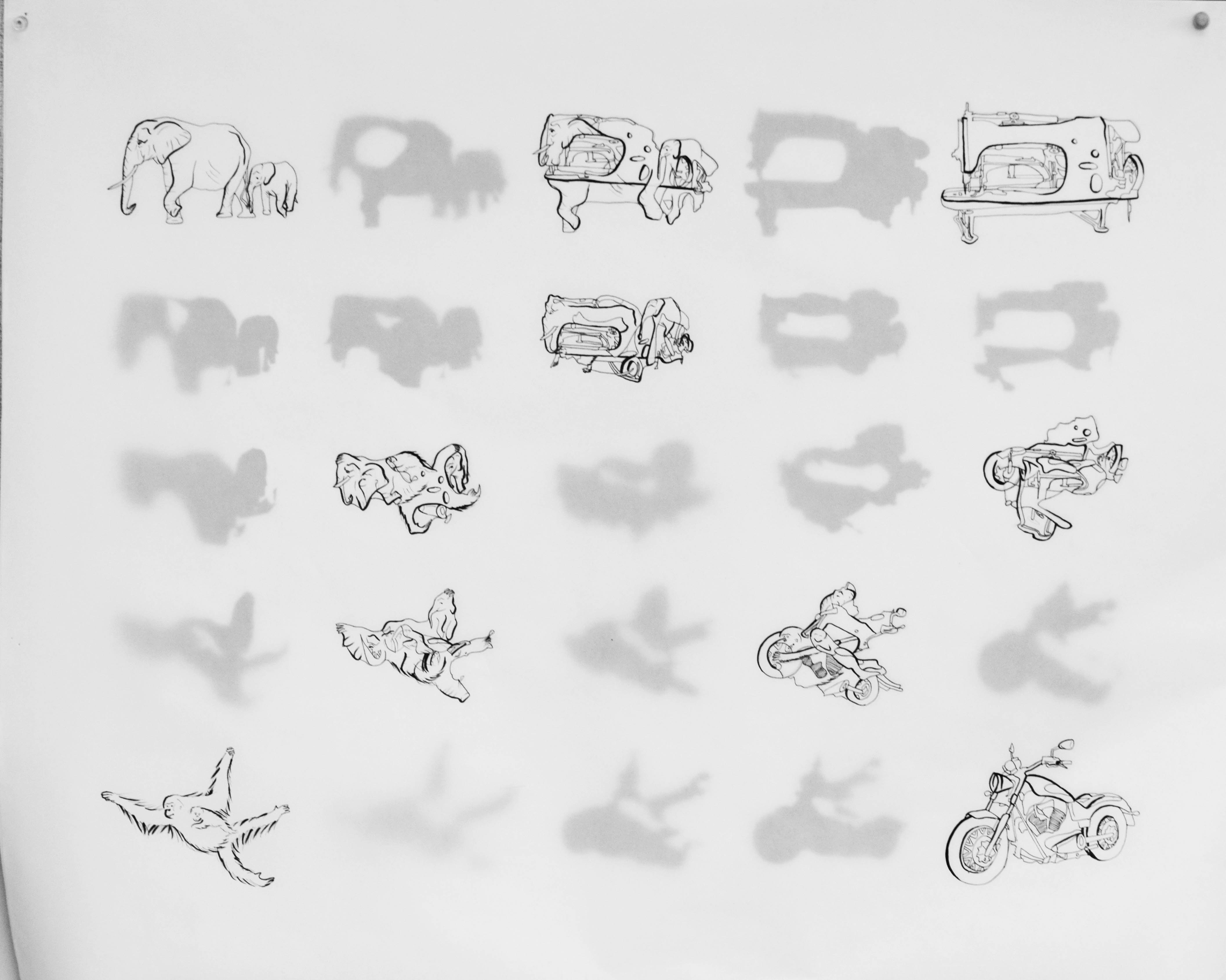 A continuation of exploring machines combined with animals where the outline was determined by a Rhino tool and the interior by myself.