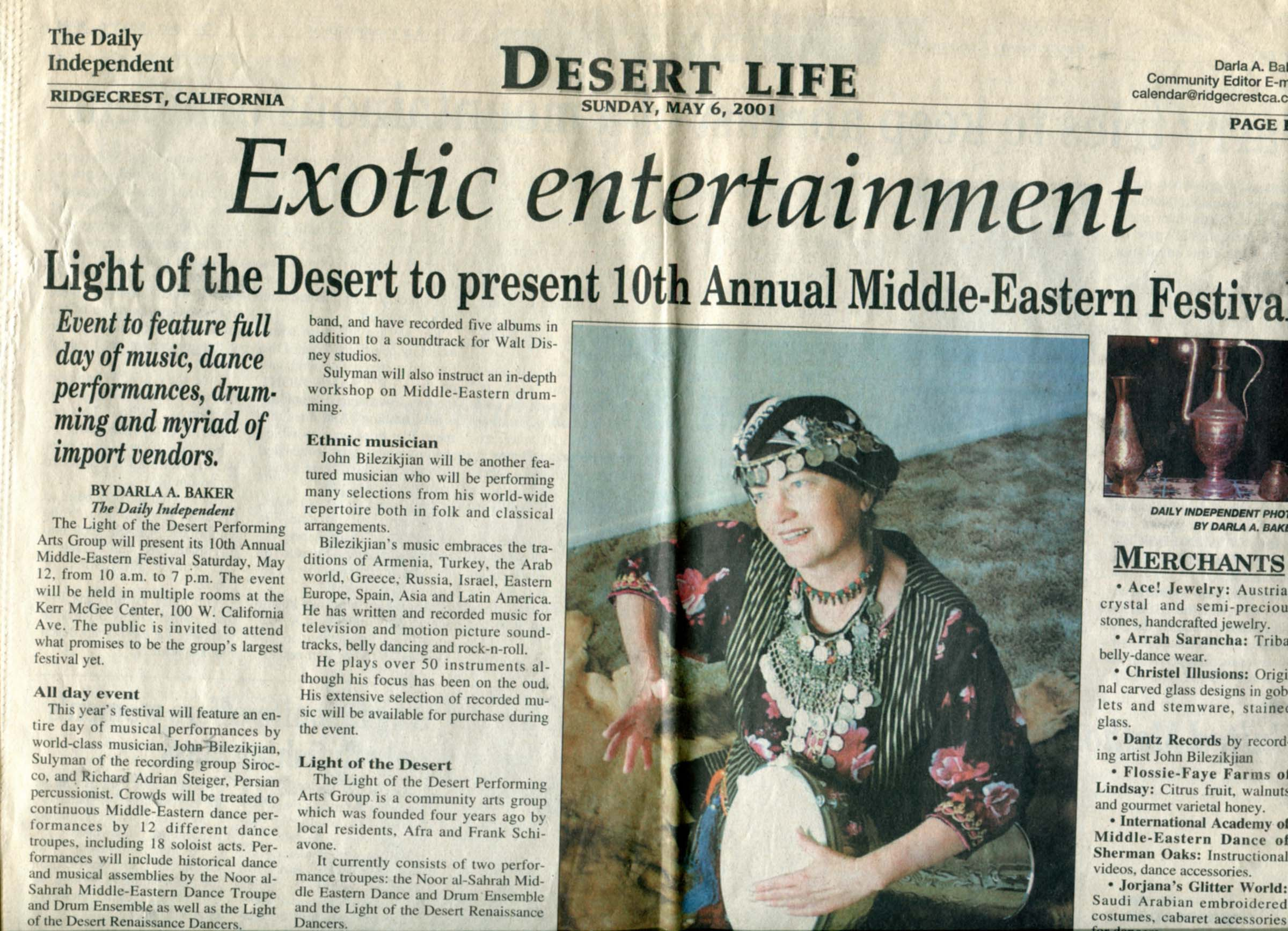 2001 Drum lecture/demo for Mid=Eastern Festival, Ridgecrest CA