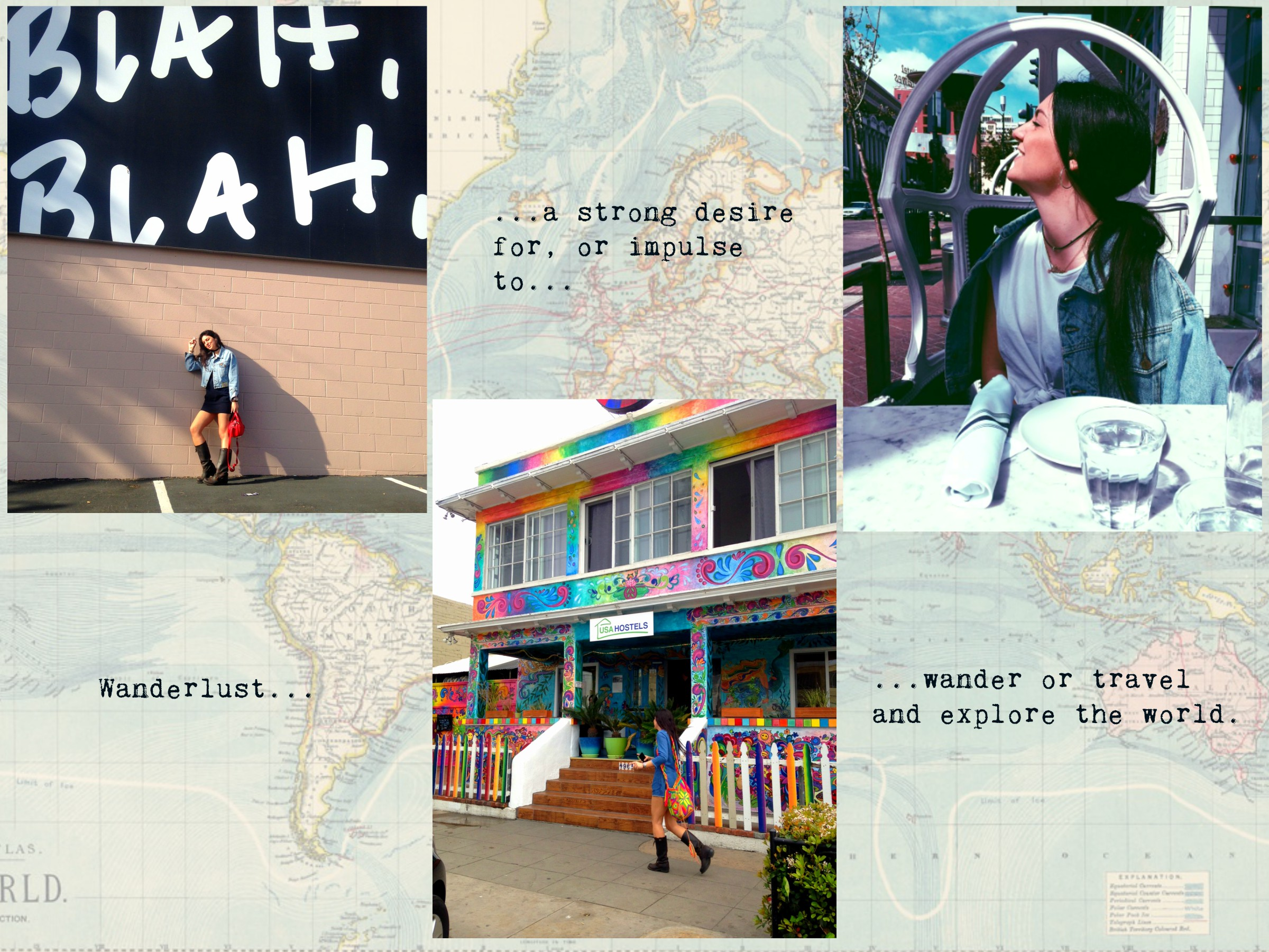 I used the theme of Wanderlust for this image as we are both international students who love to travel and explore. These photographs were taken in three different locations in San Diego.
