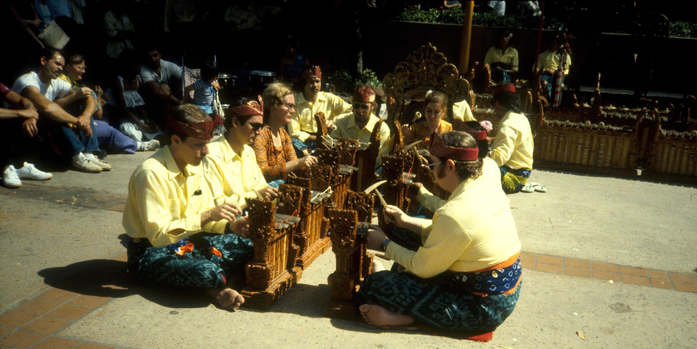 Intercon 1982 at Balboa Park, Gamelan Angklung (playing gangsa, Rai. dir.)