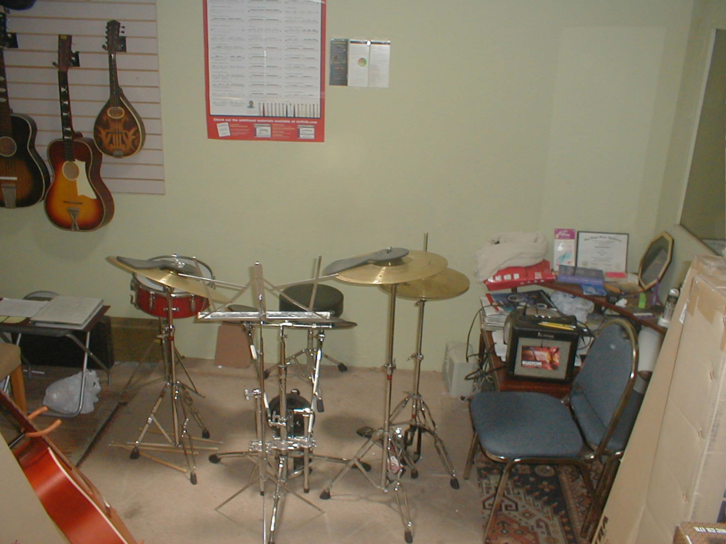 2005 Drum teaching area @ Mike Fenton's MuzikMuzik store, El Cajon CA