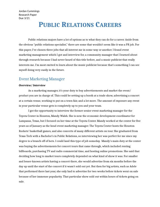 These are three public relations careers I am interested in and researched.