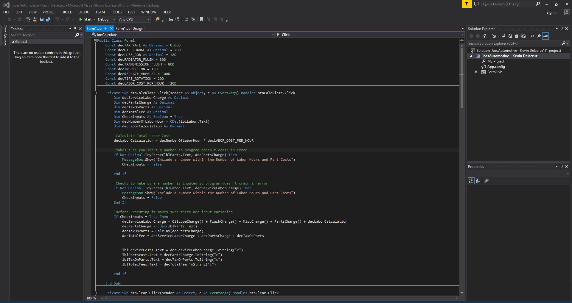 Visual Basic Code for the Program