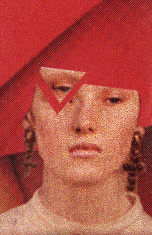 Woman with top of head gone and an triangle cut out of her face.