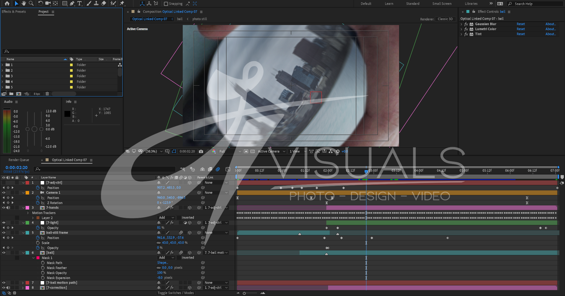 After Effects Timeline of one of the more complicated scenes.