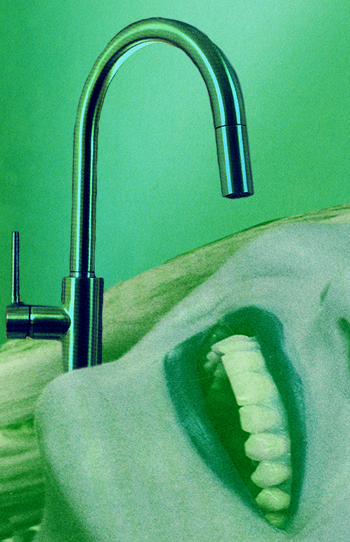 Faucet above a woman's mouth