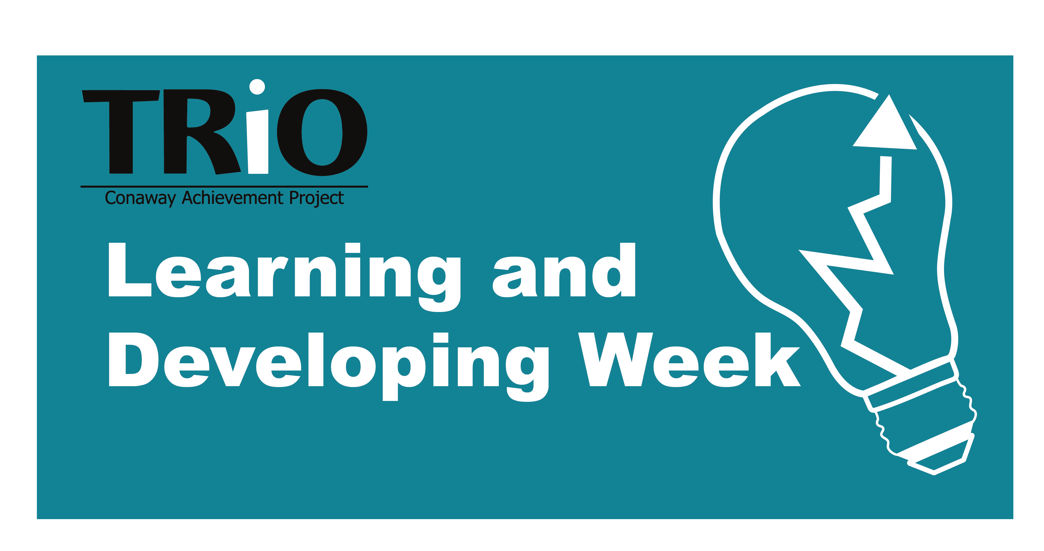 Trio logo on image with light bulb with an upward arrow. Says: Learning and Developing week.