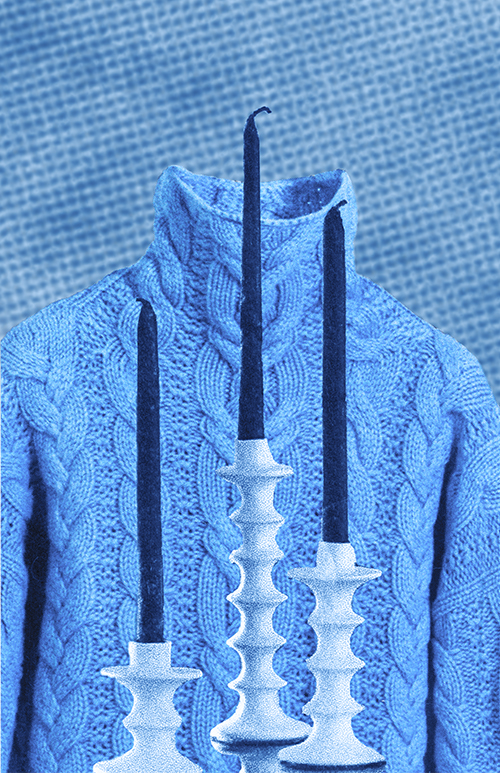 Blue sweater with tall candles in front