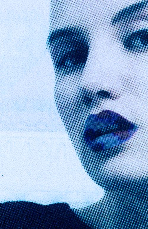 Blue woman with blue lips with dots