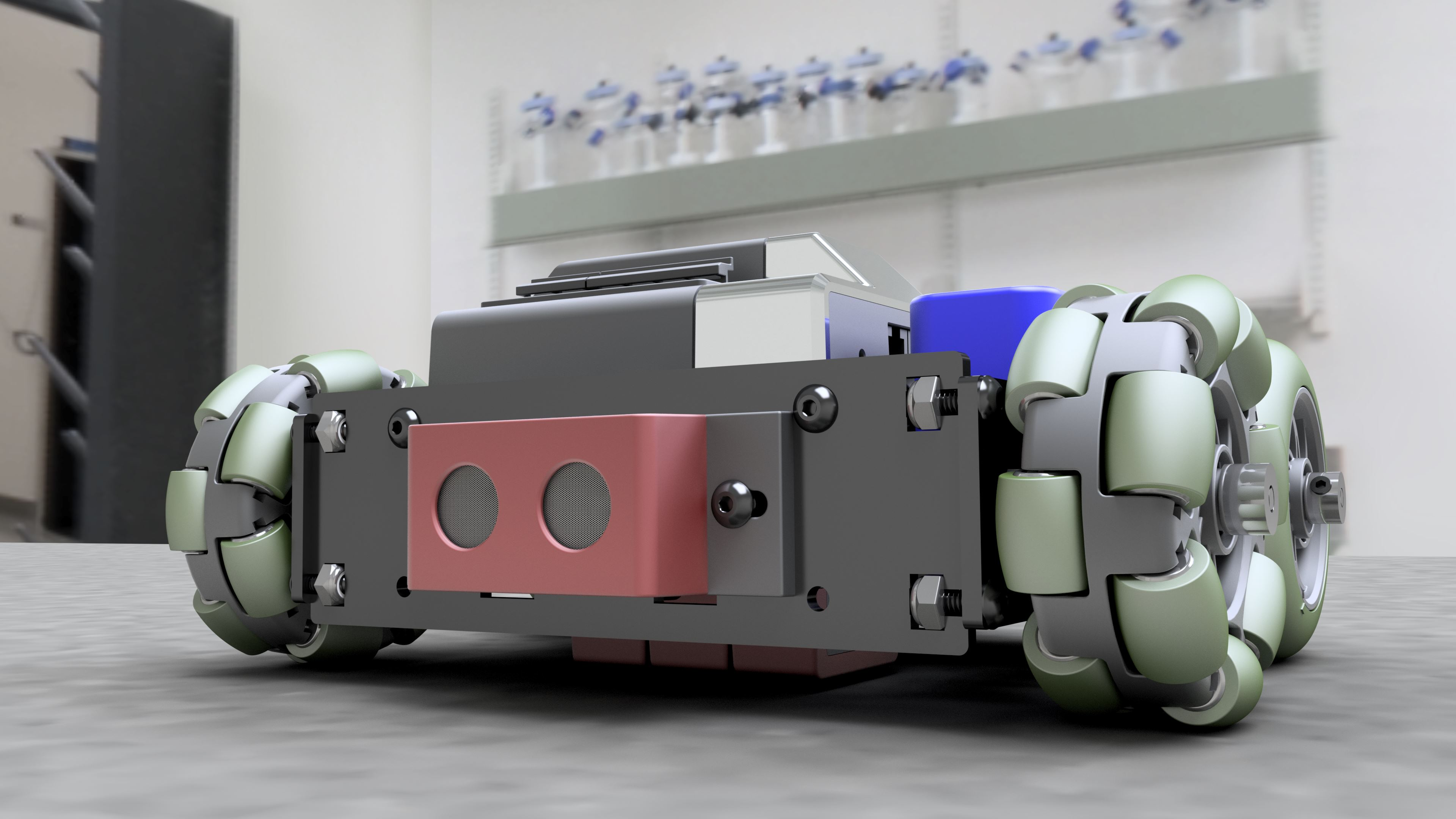 Realistic render of the rover. The model was created in Autodesk Inventor and rendered in Inventor Studio.