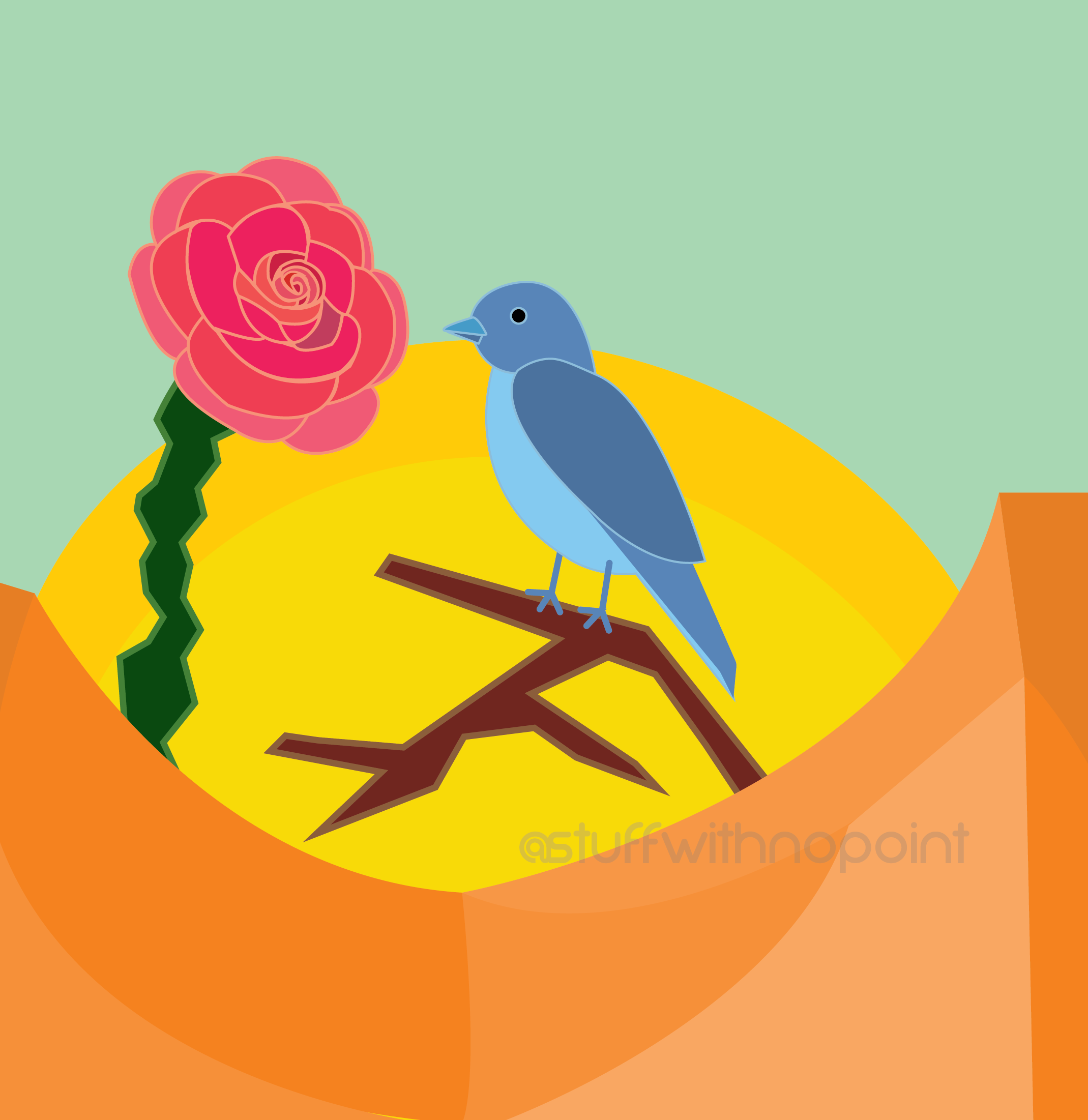 Blue bird on a branch that sits on orange curved ground. Red flower in front of bird and a yellow/orange sun behind.