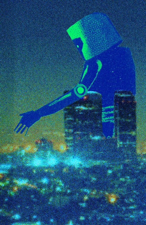 Robot walking through a city