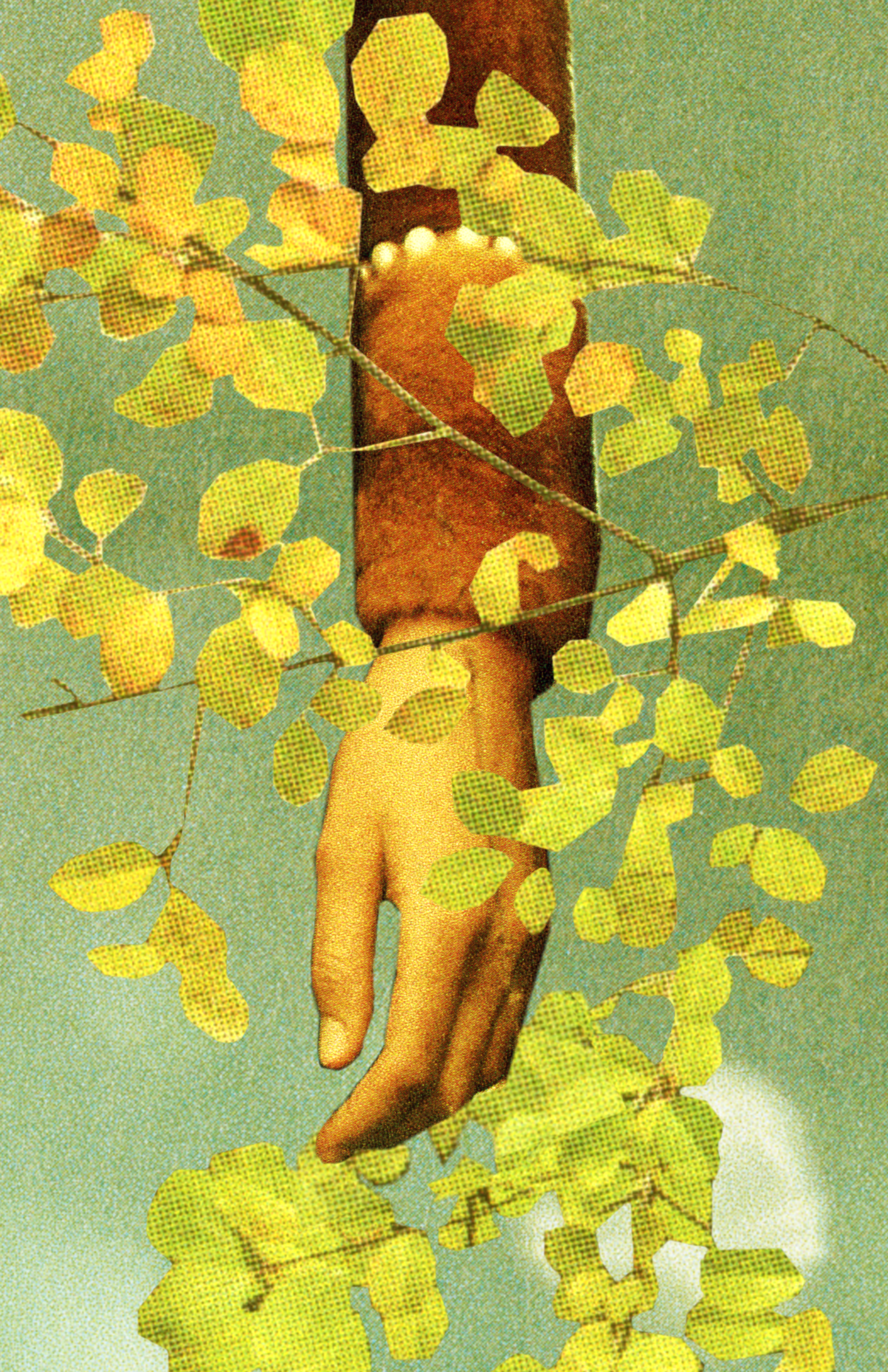A arm down across the image with leaves overlapping