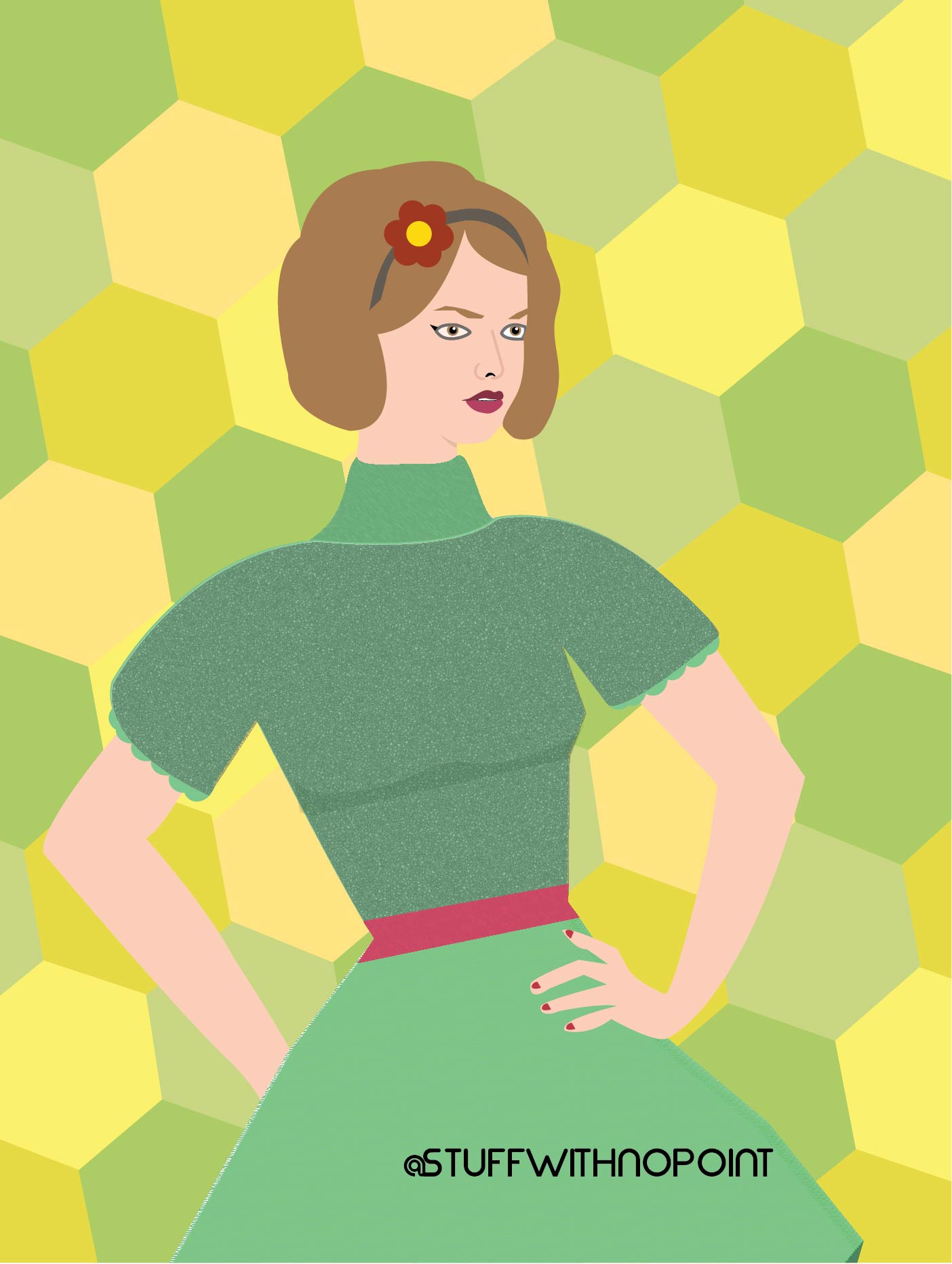 Lady in a dress with green/yellow honeycombs behind.