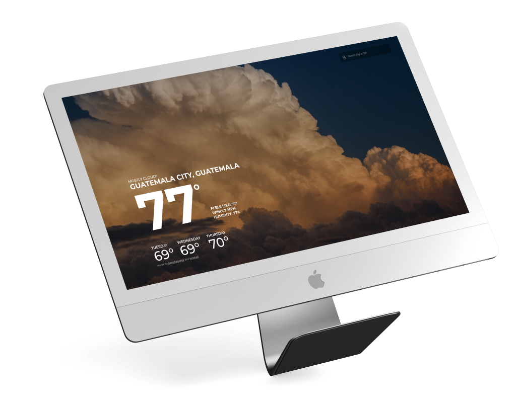 A brief and stylized look at the design of the webpage on a mockup of an iMac.
