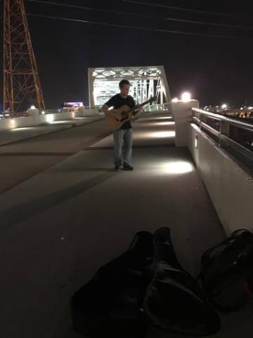 Busking on the bridge Nashville, Tn