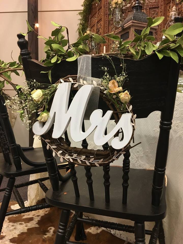 Mr. & Mrs. signs I created for back of chairs