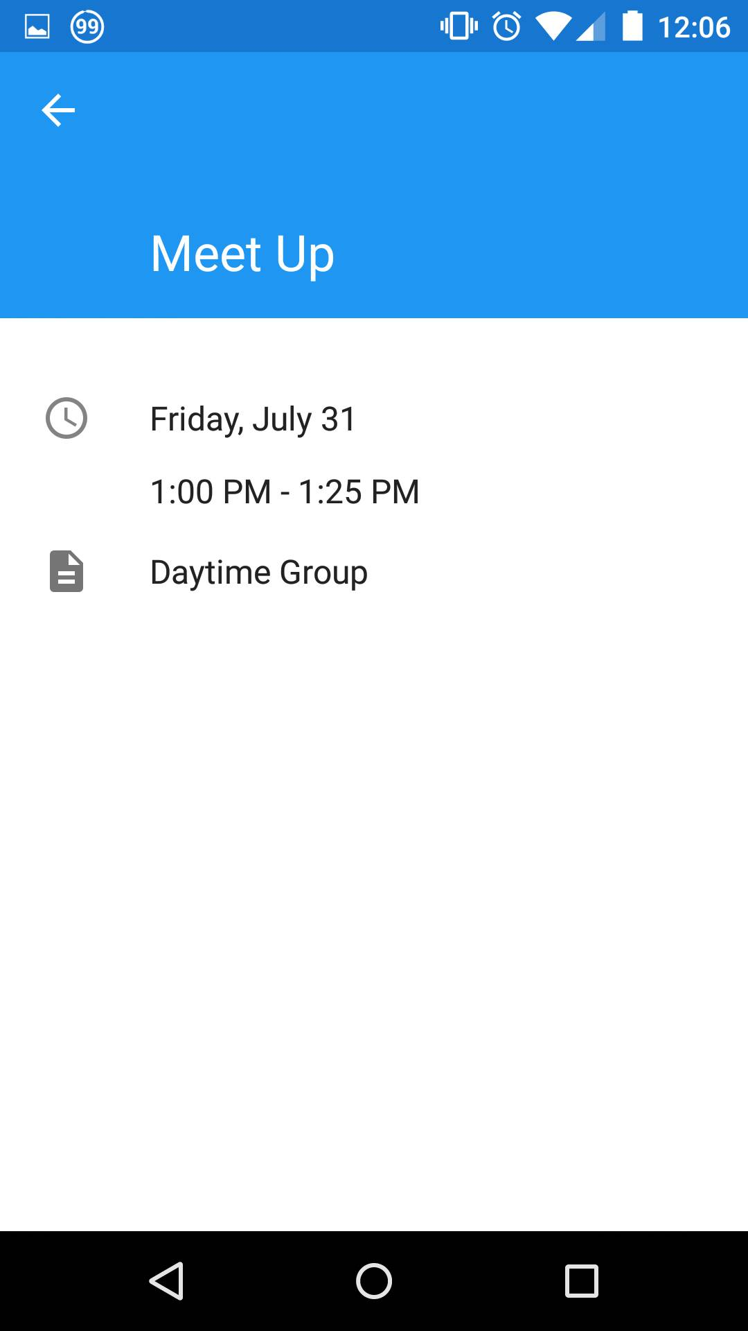 Detailed information when viewing a specific scheduled event