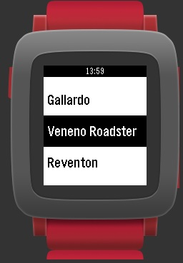 Car model selection on Pebble Watch